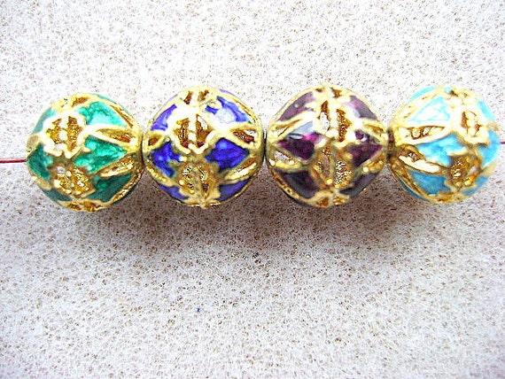 CLOISONNE, 22k GOLD, SILVER, Meerakari, Precious,  Metal, Bling, Quality, Tibet