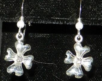 Sterling Silver Dogwood Flower Dangle Earrings