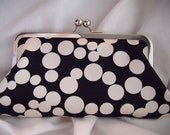 Bridesmaids Clutches, Black and Ivory, circle clutch, dot clutch, satin clutch, personalized clutch, wedding clutch, party clutch, bubbles