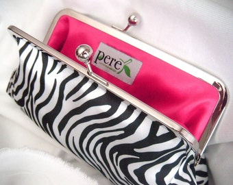 Zebra clutch - black and white - clutches - satin clutch - fun clutch - customizeable - eveningbag - party clutch - kiss lock clutch -