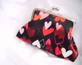Dark Valentine - Heart Clutch - Black, Red, Pink - Valentine's Day - accessories - small clutch - Kitchy Clutch - Cute Gift - ready to ship