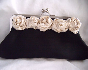 Black and Ivory clutch - Maid of Honor Clutch - Rosette Clutch - Flower Clutch - Bridal Clutch - silk clutch, evening bag,  juliet, romantic
