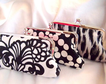 bridesmaids gift - Satin clutches - clutch set - black white / black ivory - Weddings - personalized clutches - eveningbag - design your own