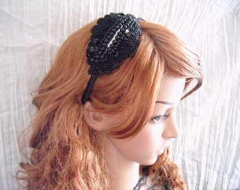Stunning black beaded sequin headband -- perfect hair accessory for a wedding guest or the bridal party