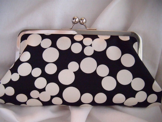 Personalized Bridesmaids Clutches, Black and Ivory, circle clutch, dot clutch, satin clutch, wedding clutch, party clutch, bubbles, women
