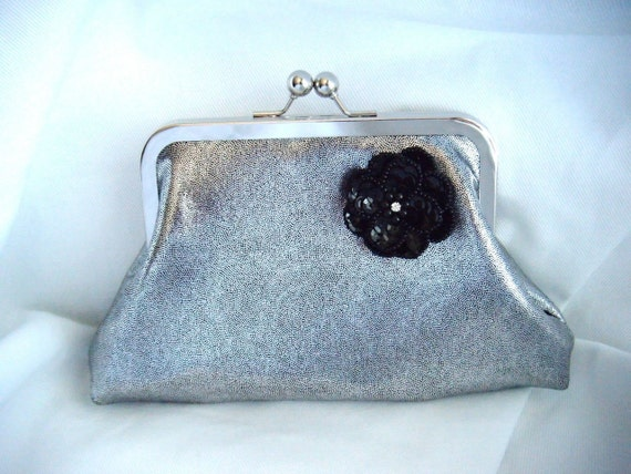 Liquid Silver clutch with black sequin flower -- A One of A Kind Demi Petite Clutch - Prom - New Years Eve