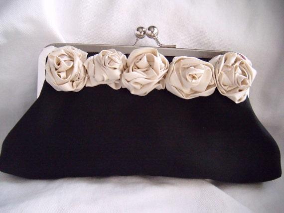Black and Ivory clutch - Maid of Honor Clutch - Rosette Clutch - Flower Clutch - Bridal Clutch - silk clutch, evening bag,  juliet, romantic