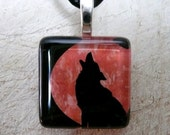 Wolf Howling at Red Moon - Glass Tile Pendant