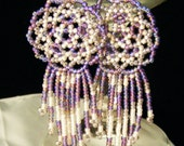Sweet Lavender Bead Weave Mandala Shield Earring - Free Shipping