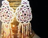 RESERVED - Pink Cream Bead Weave Mandala Shield Earrings
