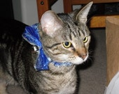 Blue Sparkle Bow Collar with Bell