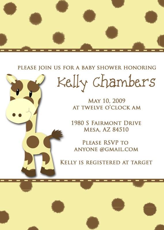 Giraffe Baby Shower Invitation- Digital or Printed