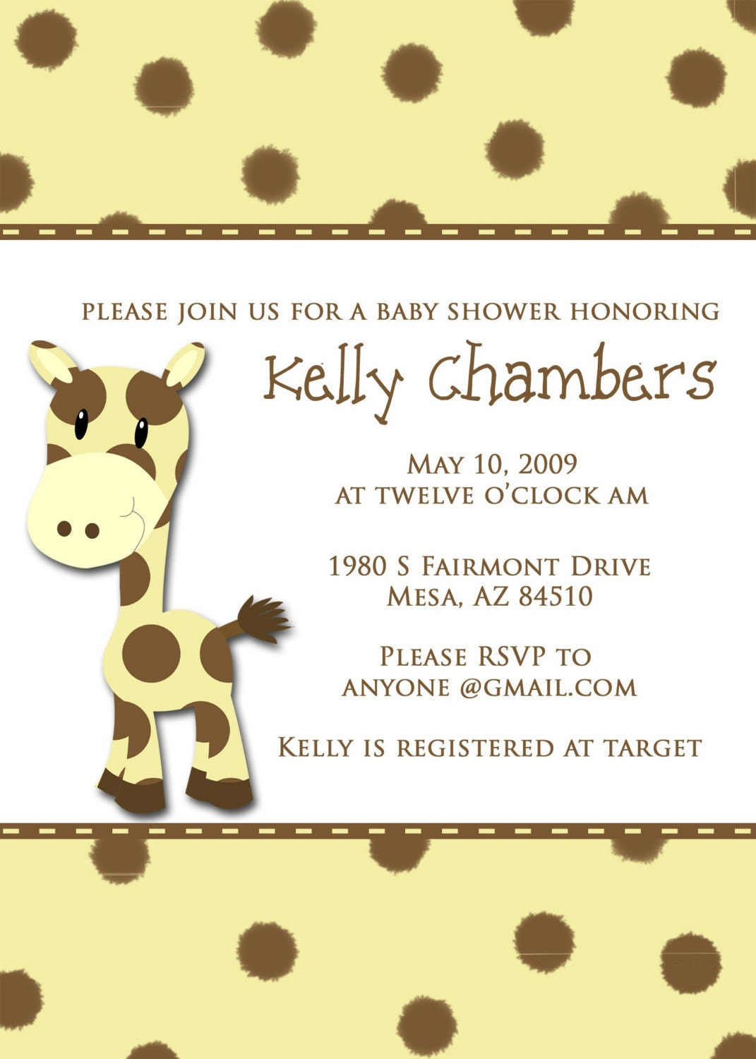 giraffe baby shower invitation digital or printed