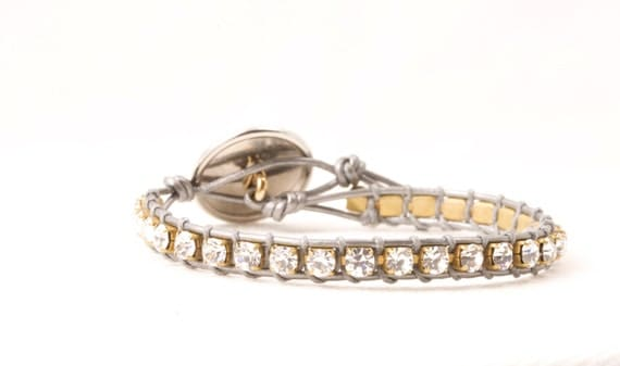 Clear Rhinestone Single Leather Bracelet in Silver