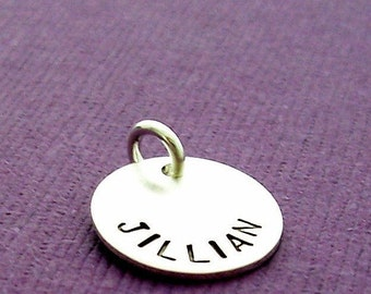 TWO SIDED Personalized Sterling Silver Disc - Name and Date Charm - EWD Extras and Add Ons