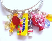 sale SUGAR AND SPICE - four ooak lucite candy sweets beaded charm bracelets bangles