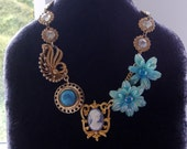 sale  - MY FAIR LADY - blue and gold cameo floral statement charm necklace