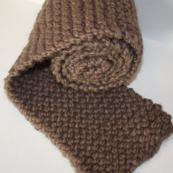 Knitting Garter Stitch Scarf : Taupe brown garter stitch knit scarf