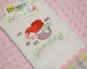 Molly Mermaid - Embroidered Burp Cloth for a Girl