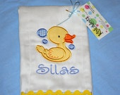 Yellow Toy Ducky - Appliqued Duck Monogrammed Burp Cloth for New Baby