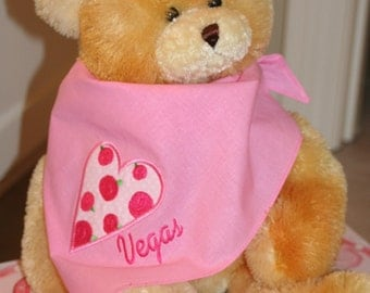 Valentine Dog Scarf, Heart Dog Scarf, Pet Scarf, Appliqued and Embroidered Pink Dog Scarf