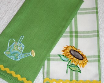 Sunflower Kitchen Towel, Watering Can Kitchen Towel, Appliqued Set of 2 Kitchen Towels
