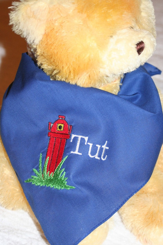 Fire Hydrant Dog Scarf, Pet Scarf, Embroidered Royal Blue Dog Scarf