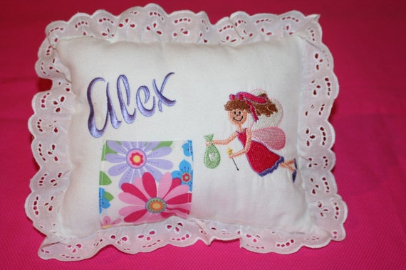 Tooth Fairy Pillow, Handmade Pillow, Embroidered  and Monogrammed Pillow, Tooth Pillow
