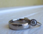 Diamond Pebble Set  engagement ring and matching wedding bands