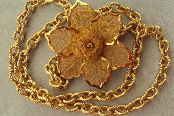 Vintage Golden Chain and Gold Mesh Rose Necklace