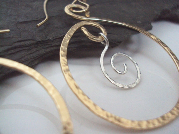 Gold Hoop Earrings, Hand Hammered Hammered Gold Hoops, Sterling Spiral Charm, Under 35, Silver and Gold
