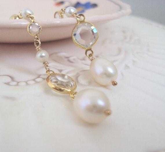 Vintage Crystal and Pearl Earrings, Long Dramatic Drop Earrings, Glamour Girl Earrings, Under 30
