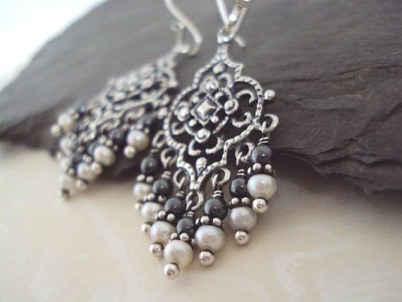 Ornate Chandelier Earrings, Hematite and Pearl Chandelier Earrings, Moroccan Inspired