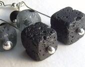 Black lava cube earrings, grey recycled sea glass