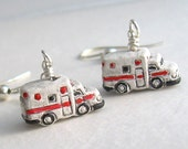 Ambulance Earrings, Jewelry Gifts for Paramedics, Doctors, Nurses, EMTs, Red, White & Black,