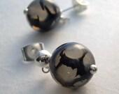 Black Agate Earrings, Silver Post Earrings, Spider Web Stone Jewelry