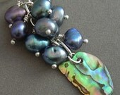 Paua abalone shell and peacock pearl cluster ear cuff