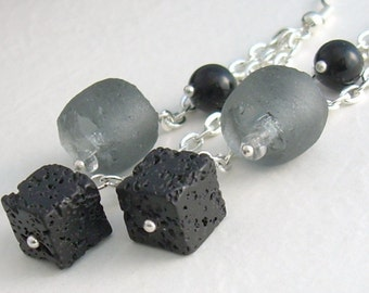 Black Lava Cube Earrings, Gray Recycled Sea Glass, Rough Stone Jewelry