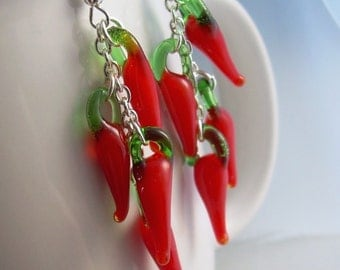 Red Hot Chili Pepper Earrings, Lampwork Glass Food Jewelry