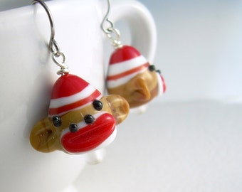 Sock Monkey Earrings, Cute Animal Jewelry, Fun Earrings For Gifts