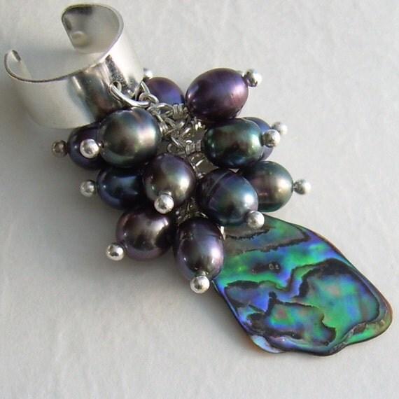 Peacock Pearl Ear Cuff, Paua Abalone Shell, Blue Green Earcuff, Cartilage Cuff