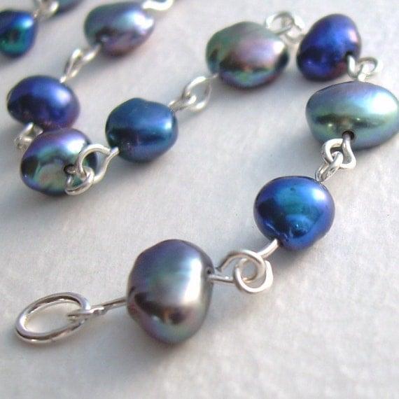 Pearl Bracelet, Cobalt Blue & Peacock Pearl Jewelry