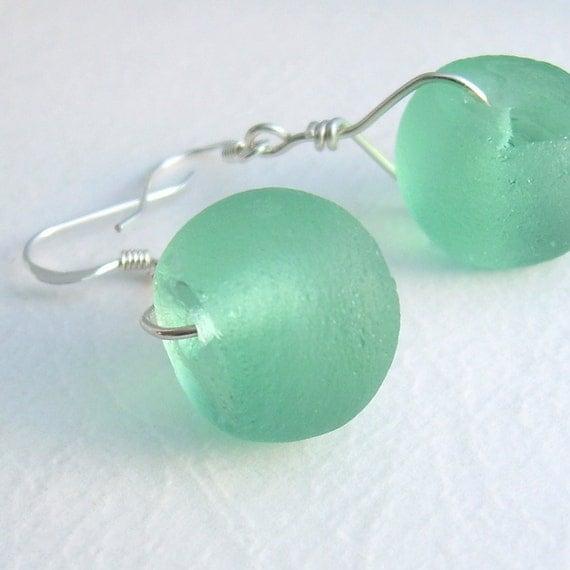 RESERVED Green Recycled Sea Glass Earrings, Sea Foam Jewelry