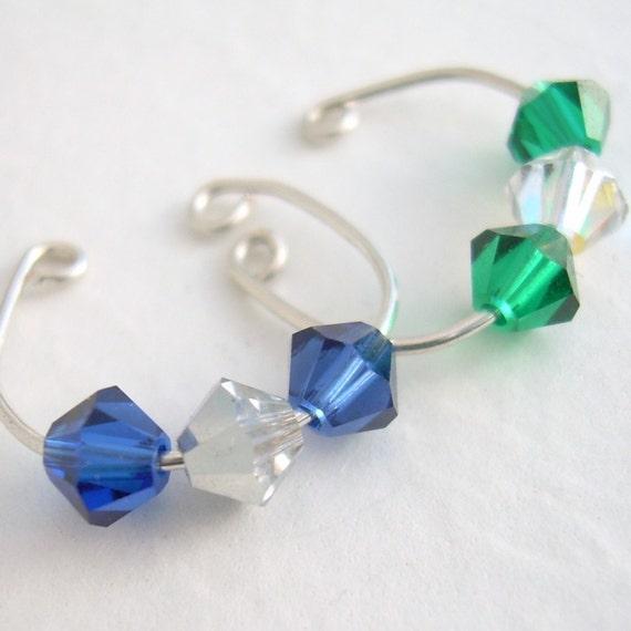 Faux Piercing: Gemstones, Crystals, Pearls Earcuff, Cartilage Ear Cuff