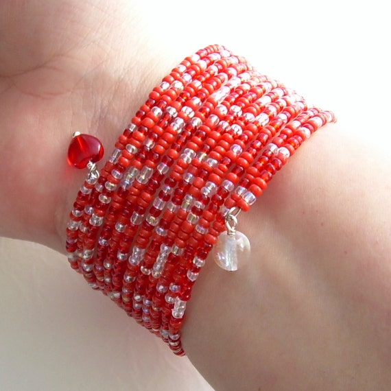 Beaded Memory Wire Bracelet,  Red and White, I Heart Canada Day Cuff