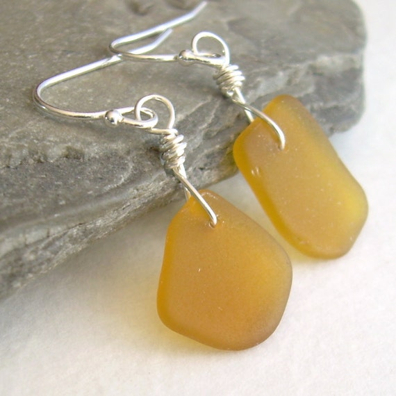 Sea Glass Earrings, Amber Honey Brown, Sterling Silver Jewelry