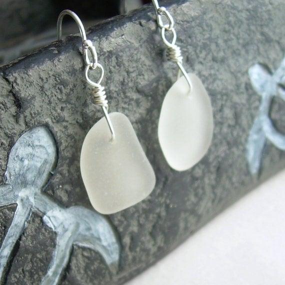 White Sea Glass Earrings, Hawaiian Jewelry, Sterling Silver