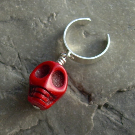 Skull Cuff Earring, Cartilage Jewelry, Red Ear Cuff, Goth Earring