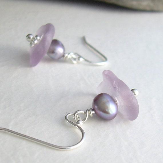 Purple Sea Glass Earrings, Lavender Pearl Jewelry, Mermaid's Tears