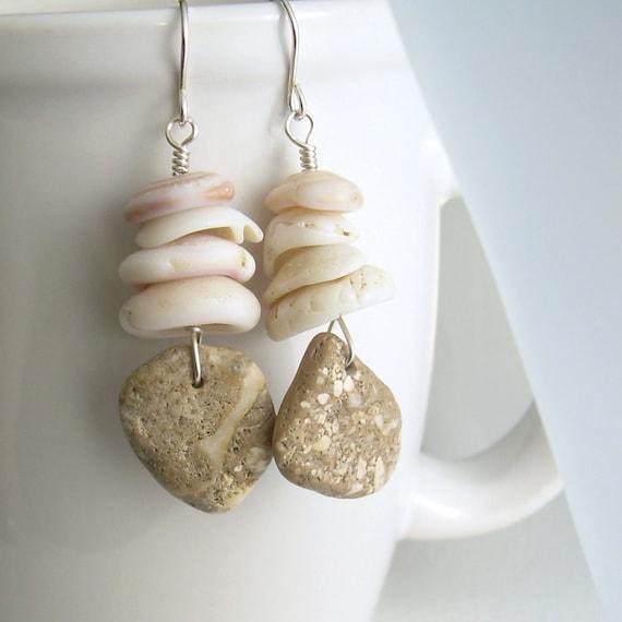 Fossil Coral Earrings, Hawaiian Puka Shell Jewelry, Beige